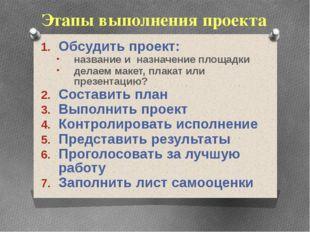 Этапы выполнения проекта Обсудить проект: название и назначение площадки дела