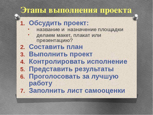 Этапы выполнения проекта Обсудить проект: название и назначение площадки дела...