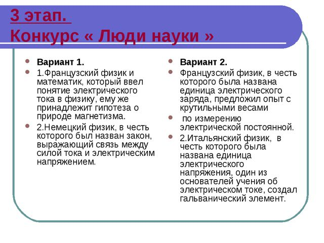 3 этап. Конкурс « Люди науки » Вариант 1. 1.Французский физик и математик, ко...