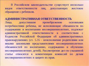 В Российском законодательстве существует несколько видов ответственности лиц