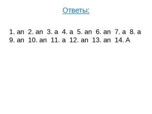 Ответы: 1. an 2. an 3. a 4. a 5. an 6. an 7. a 8. a 9. an 10. an 11. a 12. an