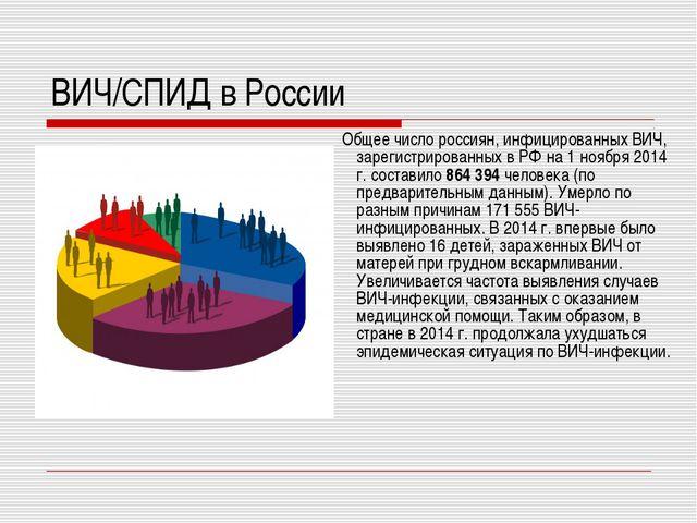 ВИЧ/СПИД в России Общее число россиян, инфицированных ВИЧ, зарегистрированных...