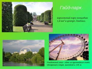 Гайд-парк - королевский парк площадью 1,4 км² в центре Лондона. Лондонский гл
