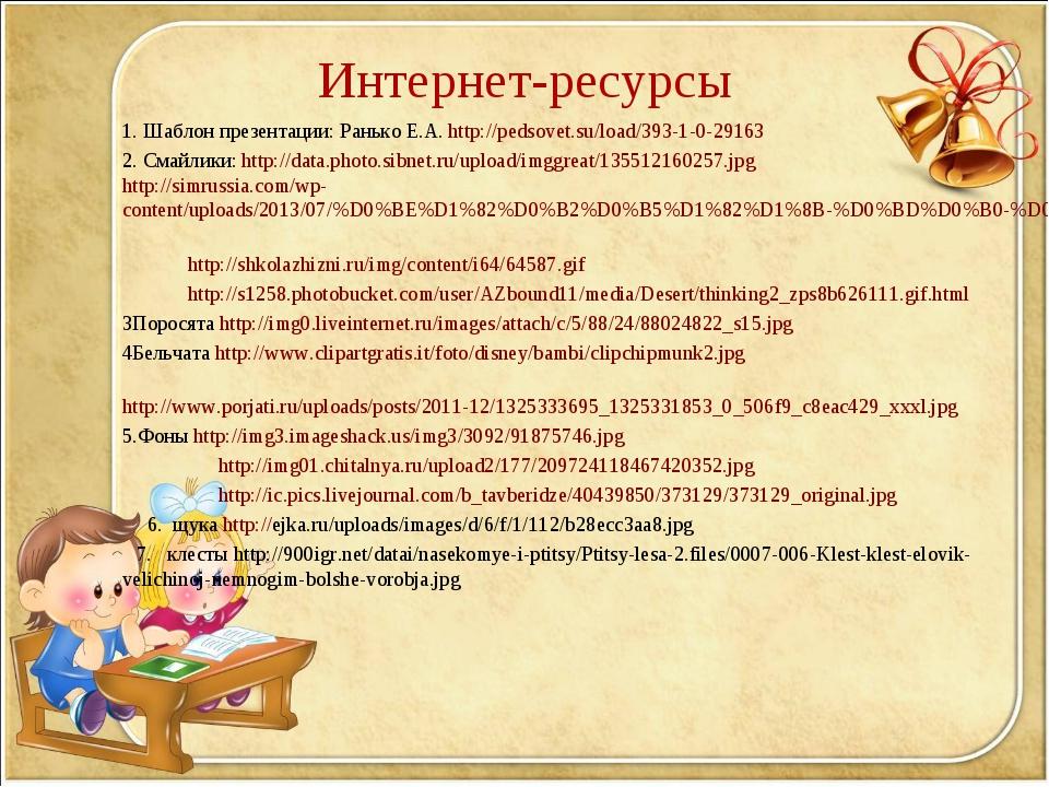 Интернет-ресурсы 1. Шаблон презентации: Ранько Е.А. http://pedsovet.su/load/3...