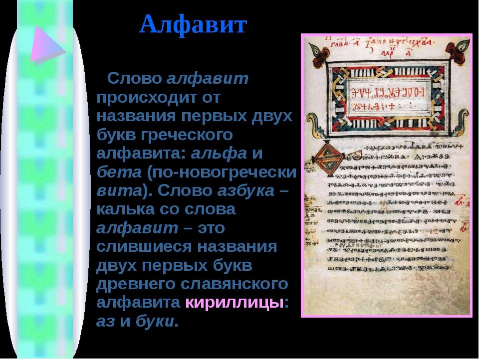 Слово алфавит происходит от названия первых двух букв греческого алфавита: а...