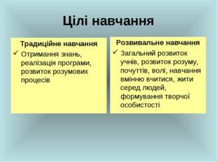 Цілі навчання Традиційне навчання Отримання знань, реалізація програми, розви