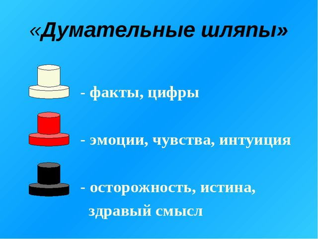 «Думательные шляпы» - факты, цифры - эмоции, чувства, интуиция - осторожность...
