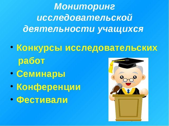 Мониторинг исследовательской деятельности учащихся Конкурсы исследовательских...