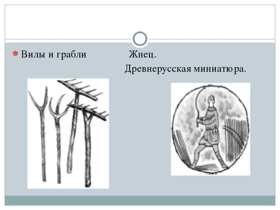 Вилы и грабли Жнец. Древнерусская миниатюра.