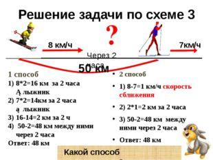 Решение задачи по схеме 3 2 способ 1) 8-7=1 км/ч скорость сближения 2) 2*1=2