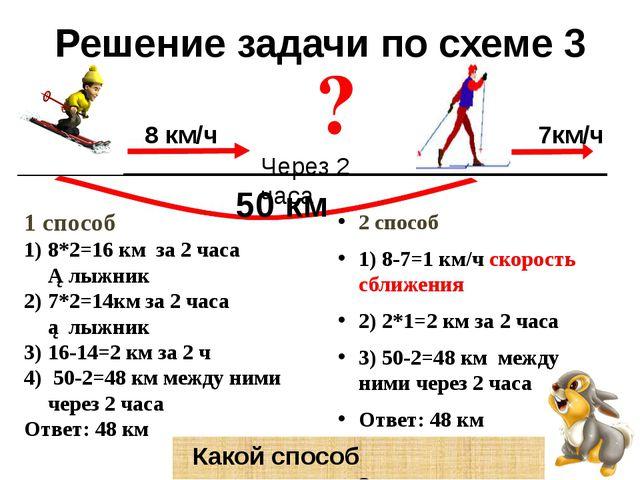 Решение задачи по схеме 3 2 способ 1) 8-7=1 км/ч скорость сближения 2) 2*1=2...