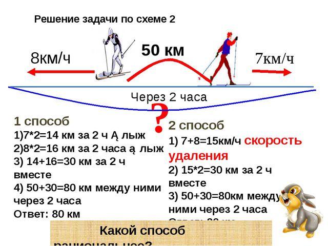Решение задачи по схеме 2 ? 7км/ч 8км/ч 50 км Через 2 часа 1 способ 1)7*2=14...