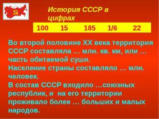 История СССР в цифрах 100 15 185 1/6 22 Во второй половине XX века территория
