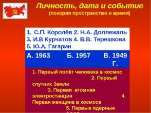 Личность, дата и событие (покоряя пространство и время) С.П. Королёв 2. Н.А.