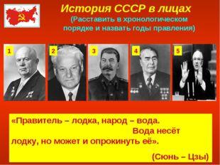 История СССР в лицах (Расставить в хронологическом порядке и назвать годы пра