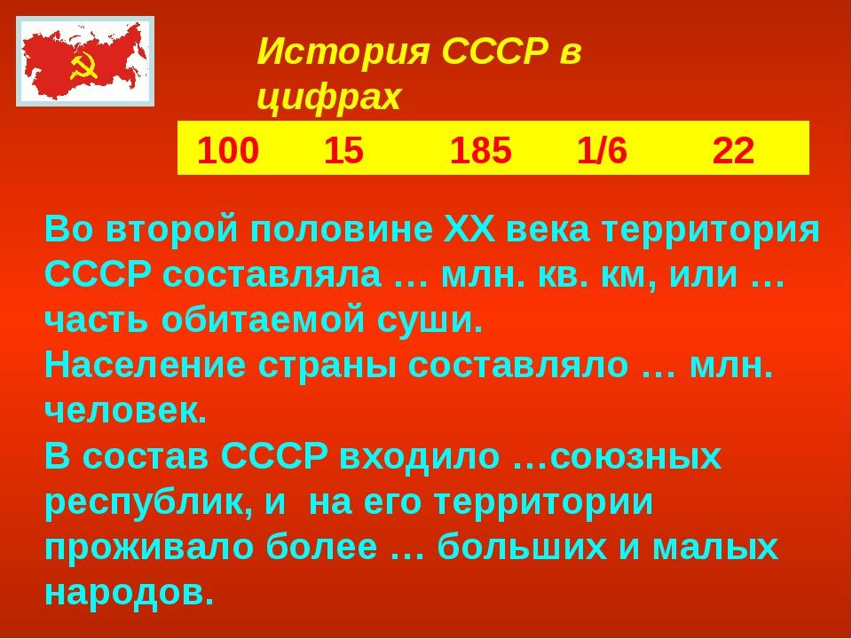История СССР в цифрах 100 15 185 1/6 22 Во второй половине XX века территория...