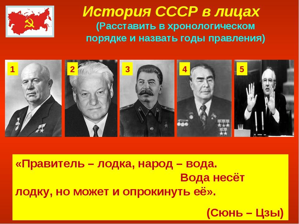 История СССР в лицах (Расставить в хронологическом порядке и назвать годы пра...