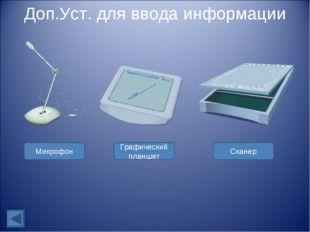 Доп.Уст. для ввода информации Микрофон Графический планшет Сканер