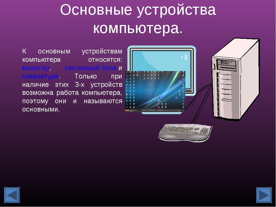 Основные устройства компьютера. К основным устройствам компьютера относятся:...