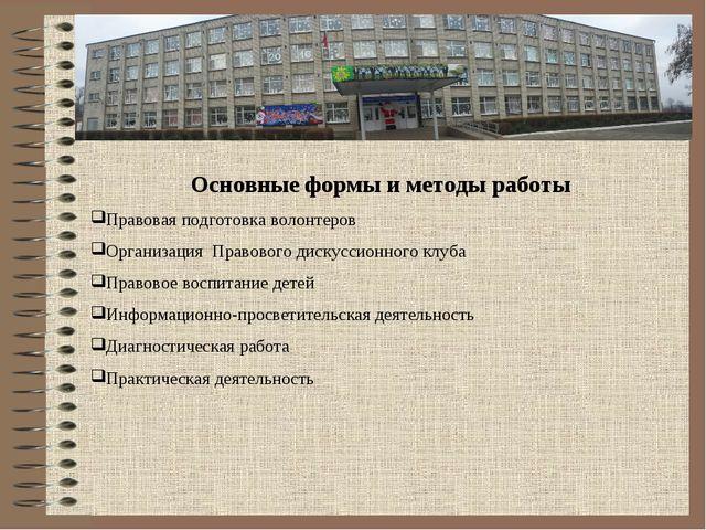 Основные формы и методы работы Правовая подготовка волонтеров Организация Пра...
