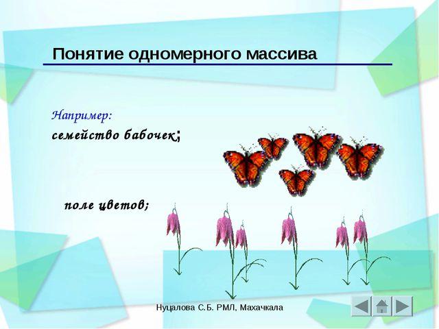 Нуцалова С.Б. РМЛ, Махачкала Например: семейство бабочек; Понятие одномерного...