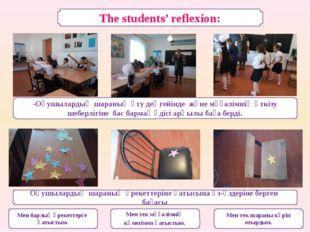 The students' reflexion: -Оқушылардың шараның өту деңгейінде және мұғалімнің