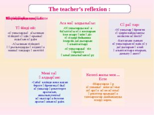The teacher's reflexion :