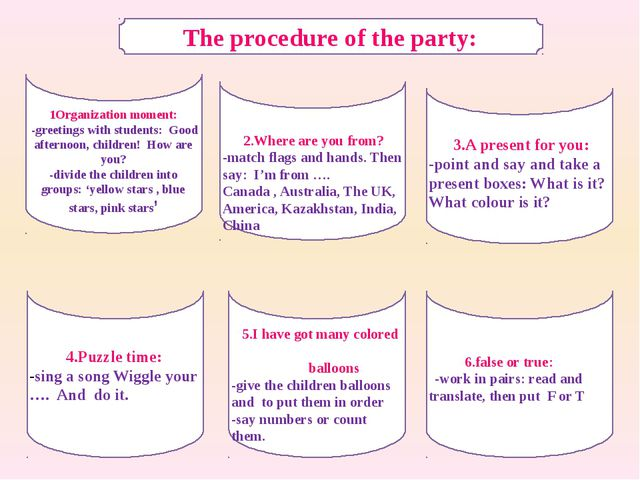 The procedure of the party: 1Organization moment: -greetings with students: G...