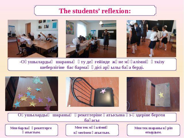 The students' reflexion: -Оқушылардың шараның өту деңгейінде және мұғалімнің...