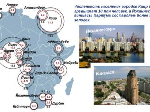 Численность населения городов Каир и Лагос превышает 10 млн человек, а Йоханн