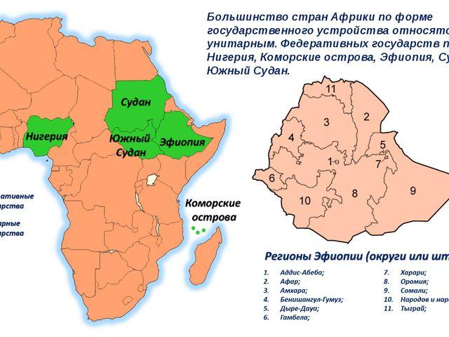 Большинство стран Африки по форме государственного устройства относятся к уни...