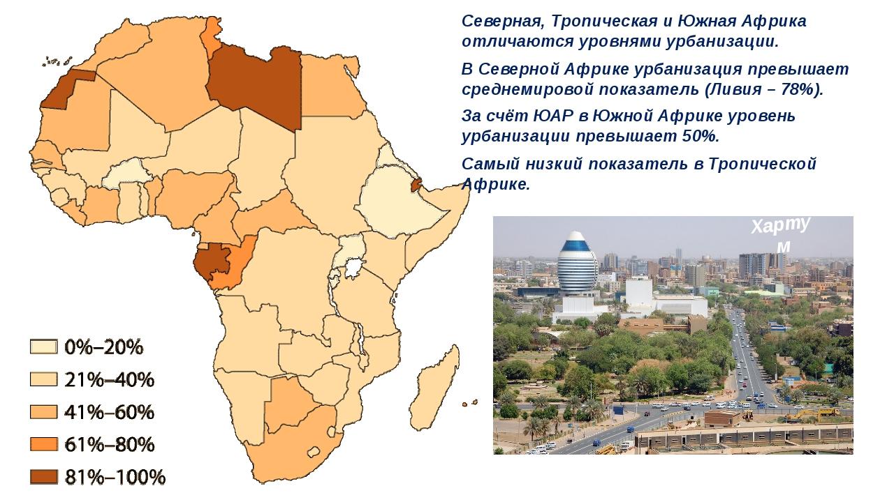 Северная, Тропическая и Южная Африка отличаются уровнями урбанизации. В Север...