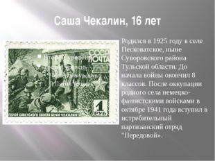 Саша Чекалин, 16 лет Родился в 1925 году в селе Песковатское, ныне Суворовско