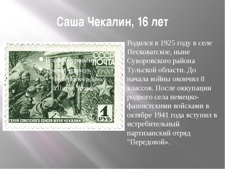 Саша Чекалин, 16 лет Родился в 1925 году в селе Песковатское, ныне Суворовско...