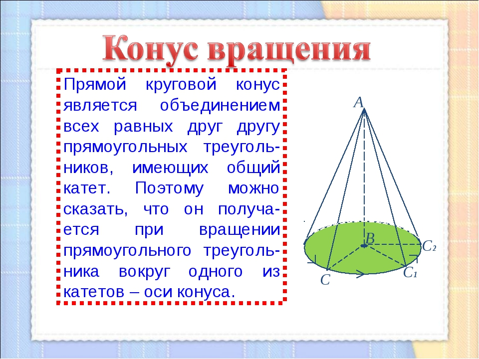 Прямой круговой конус является объединением всех равных друг другу прямоуголь...