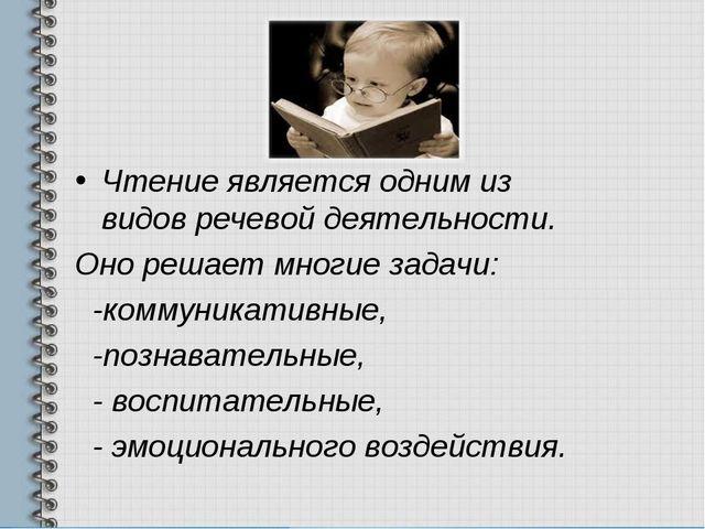 Чтение является одним из видов речевой деятельности. Оно решает многие задач...