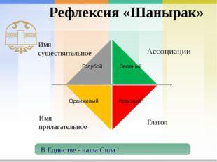 Рефлексия «Шанырак» Имя существительное Голубой Зеленый Красный Оранжевый В