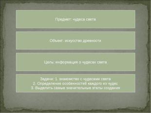 Предмет: чудеса света Объект: искусство древности Цель: информация о чудесах