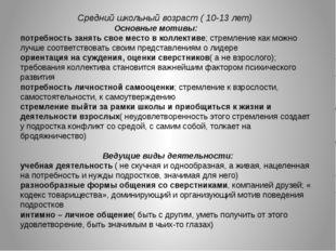 Средний школьный возраст ( 10-13 лет) Основные мотивы: потребность занять св