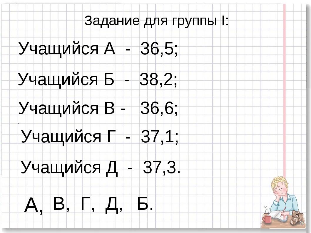 Задание для группы I: Учащийся А - 36,5; Учащийся Б - 38,2; Учащийся В - 36,6...