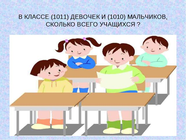 В КЛАССЕ (1011) ДЕВОЧЕК И (1010) МАЛЬЧИКОВ, СКОЛЬКО ВСЕГО УЧАЩИХСЯ ?