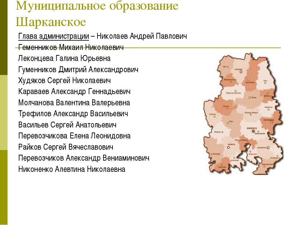 Муниципальное образование Шарканское Глава администрации – Николаев Андрей Па...