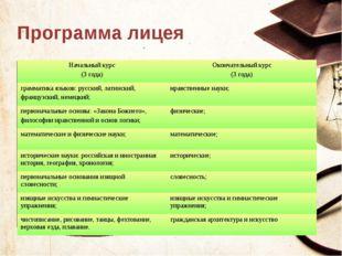 Программа лицея Текст слайда Начальный курс (3 года) Окончательный курс (3 го