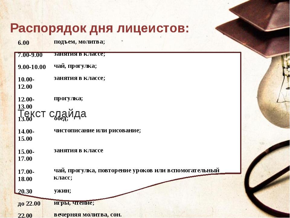 Распорядок дня лицеистов: Текст слайда 6.00 подъем, молитва; 7.00-9.00 заняти...