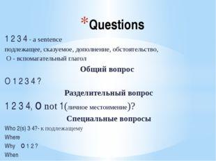 Questions 1 2 3 4 - a sentence подлежащее, сказуемое, дополнение, обстоятельс