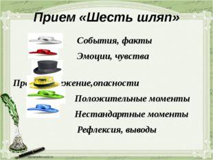 Прием «Шесть шляп» События, факты Эмоции, чувства Предостережение,опасности П