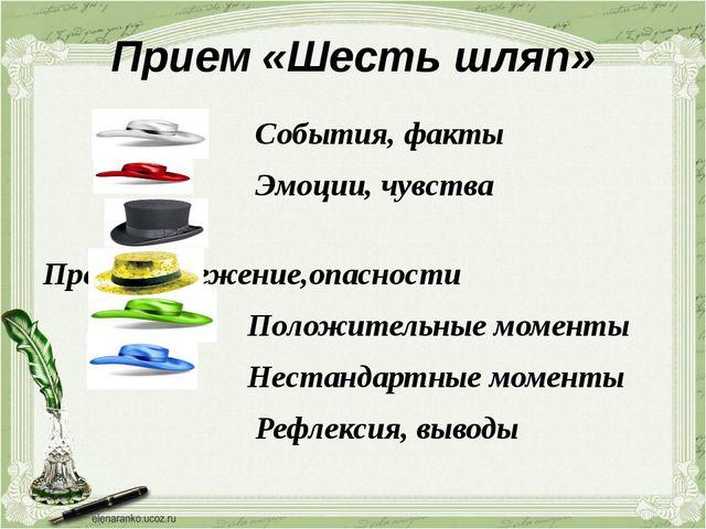 Прием «Шесть шляп» События, факты Эмоции, чувства Предостережение,опасности П...