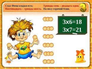 3х6=18 3х7=21 Стал Фома оладьи есть: Восемнадцать – трижды шесть. Трижды семь