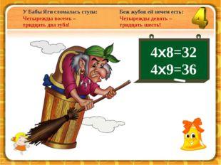 У Бабы Яги сломалась ступа: Четырежды восемь – тридцать два зуба! 4х8=32 4х9=