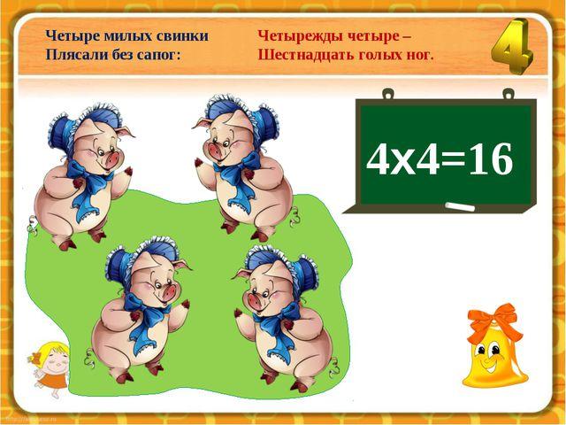4х4=16 Четыре милых свинки Плясали без сапог: Четырежды четыре – Шестнадцать...
